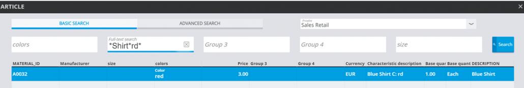 SAP-Kasse Merkmale Suche