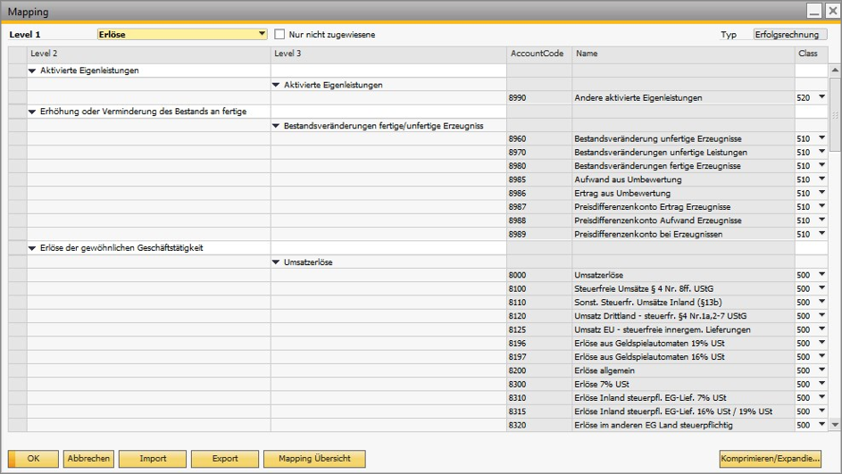 Coresuite Account Mapping