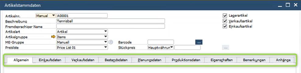 SAP Business One 10 Artikelstammdaten