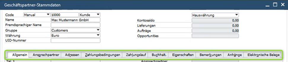 SAP Business One Geschäftspartnerstammdaten