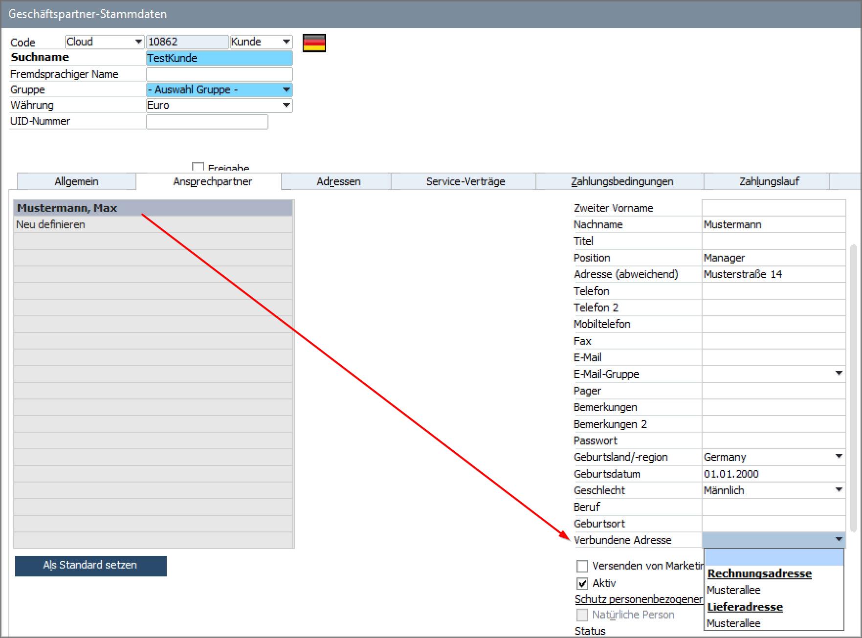 SAP Verbundene Adresse