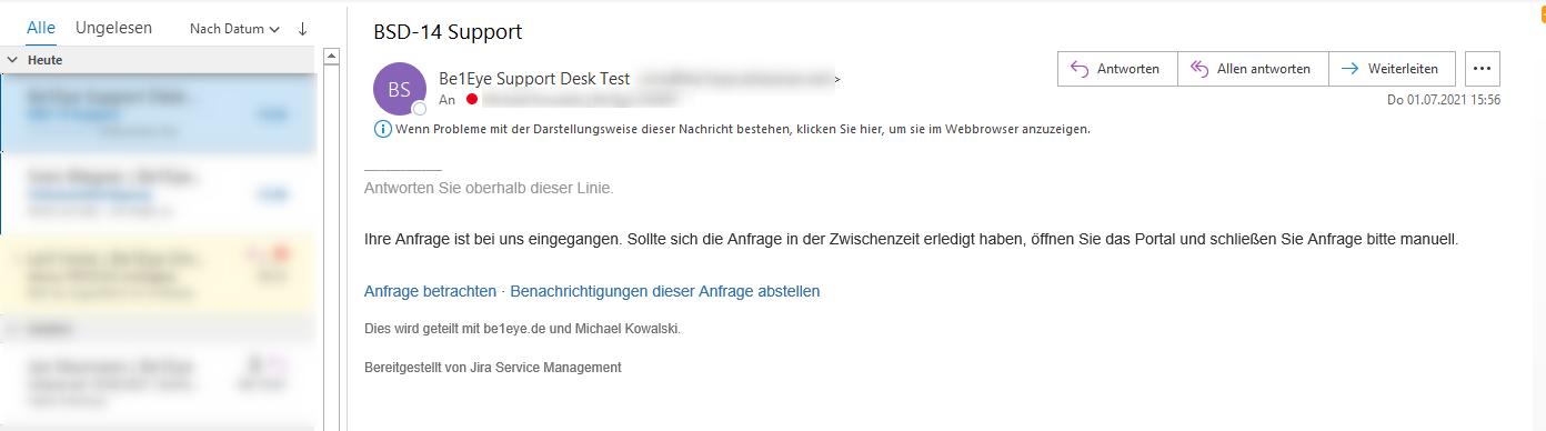Be1Eye Support Desk – Automatische E-Mail